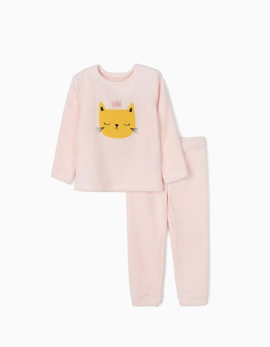Minky Fabric Pyjamas for Girls 'Cat Queen', Pink
