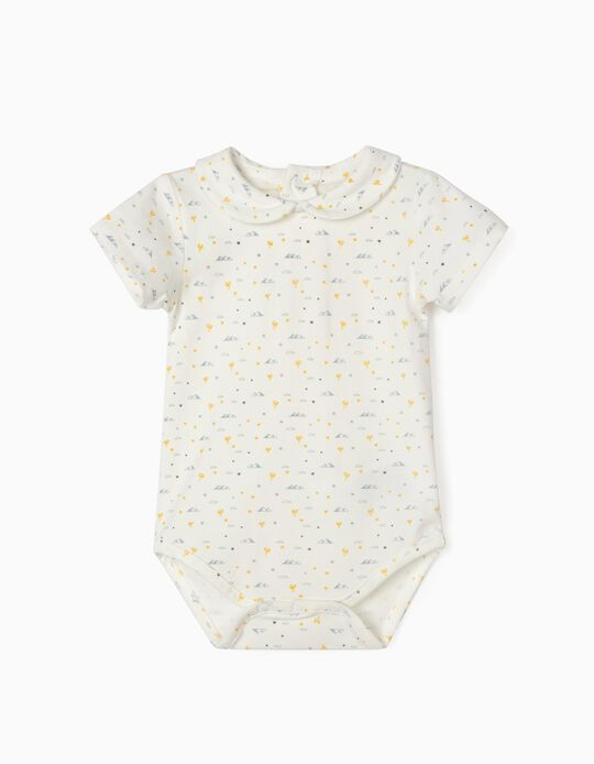 Printed Bodysuit for Baby Boys, 'Pyramids, White
