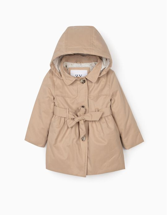 Hooded Parka for Baby Girls, Beige