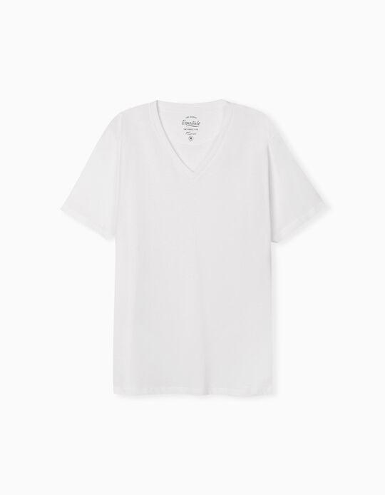 T-shirt Decote em Bico, Homem, Branco