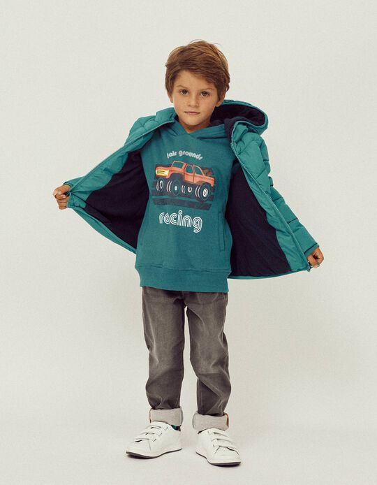 Sweatshirt para Menino 'Racing', Azul Turquesa
