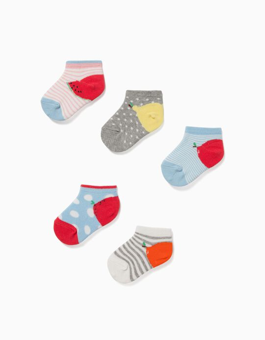5 Pairs of Ankle Socks for Baby Girls 'Fruits', Multicolour