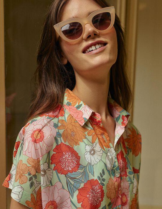 Floral Shirt, Women, Aqua Green