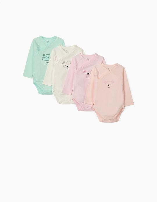 4 Long Sleeve Bodysuits for Babies, 'Animals', Multicoloured