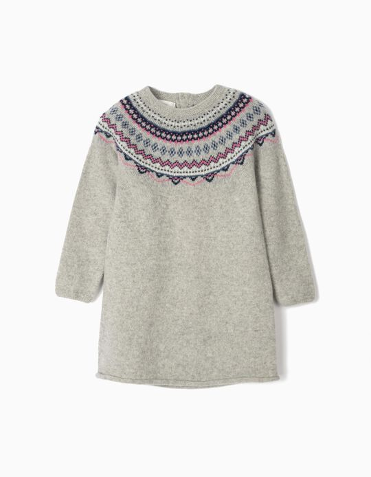 Wool Dress with Jacquard for Girls, Grey