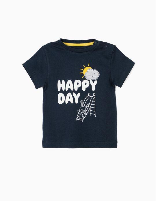 T-shirt para Bebé Menino 'Happy Day', Azul Escuro