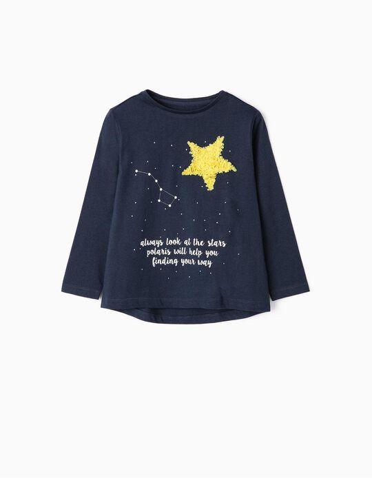 T-shirt Manga Comprida para Menina 'Magic', Azul Escuro