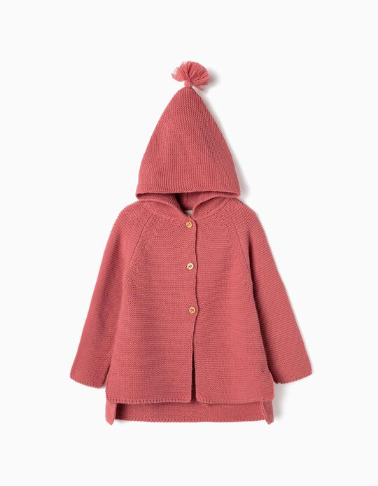 Hooded Knit Cardigan for Girls, Pink