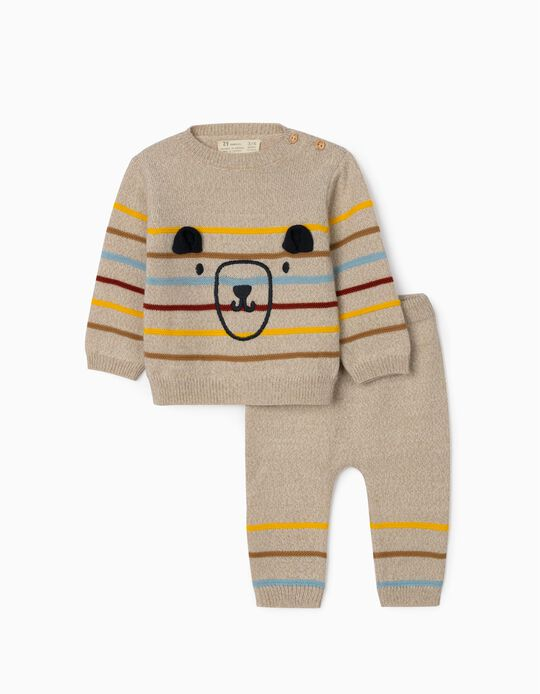 Knitted Outfit for Newborn Baby Boys, 'Cute Bear', Beige