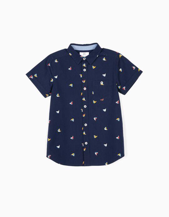 Shirt for Boys, 'Boats', Dark Blue