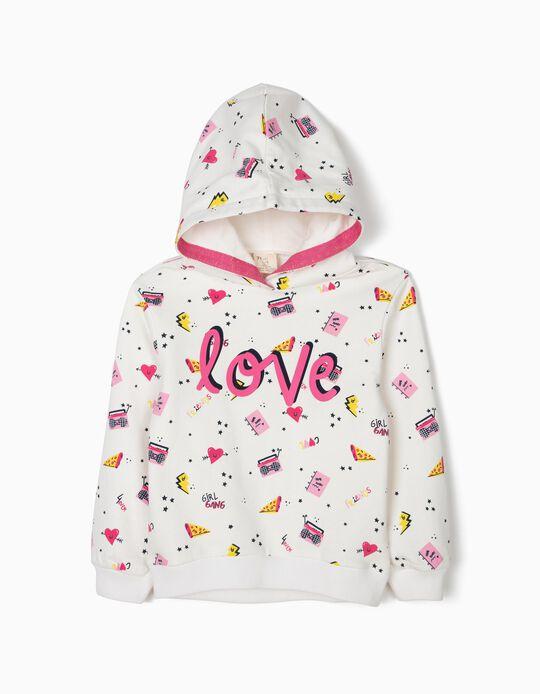 Sweatshirt com Capuz para Menina 'Love', Branco