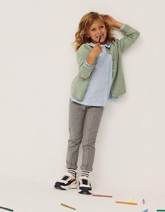 Leggings with Creases for Girls, Marl Grey