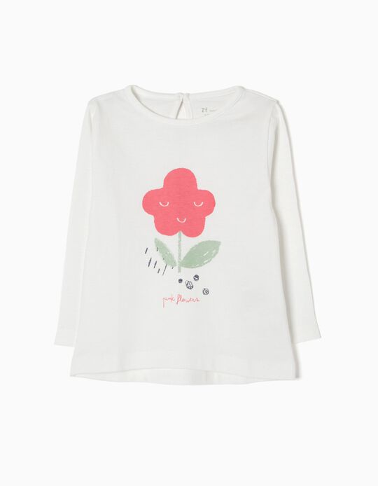 T-shirt Manga Comprida Pink Flowers
