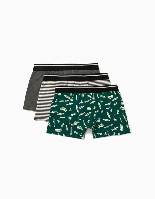 3 Assorted Boxer Shorts, for Men