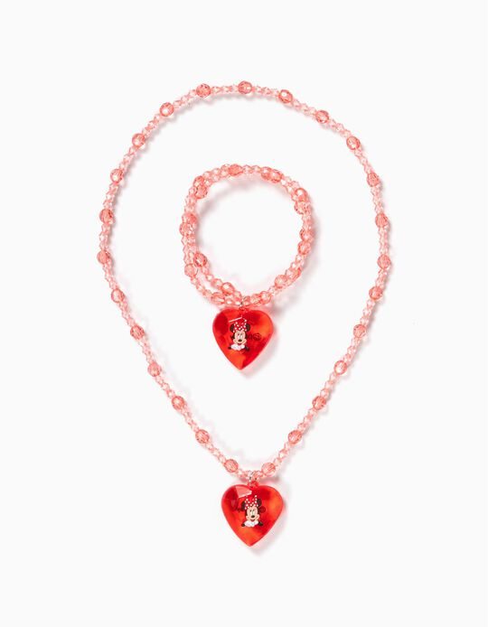 Necklace and Bracelet with Beads for Girls, 'Minnie Mouse', Red