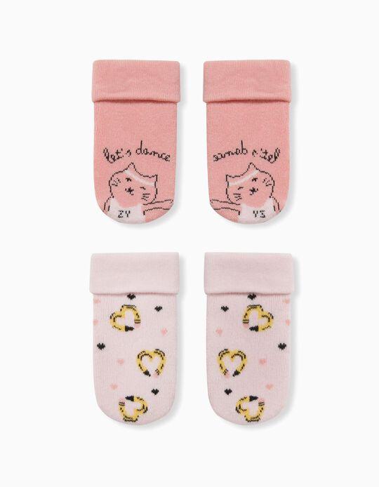 2 Pairs of Non-Slip Socks for Baby Girls, 'Dance', Pink