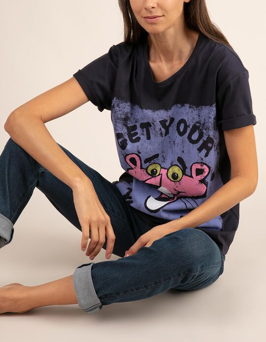 T-shirt lisa com estampado Pantera Cor-de-rosa