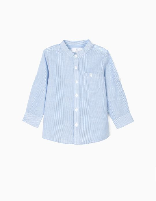 Shirt with Mao Collar for Baby Boys, Blue