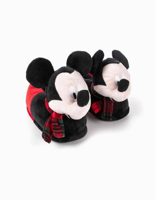 Slippers for Boys 'Mickey Christmas', Black/Red