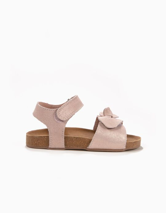 Sandálias de Camurça para Menina com Laço, Rosa