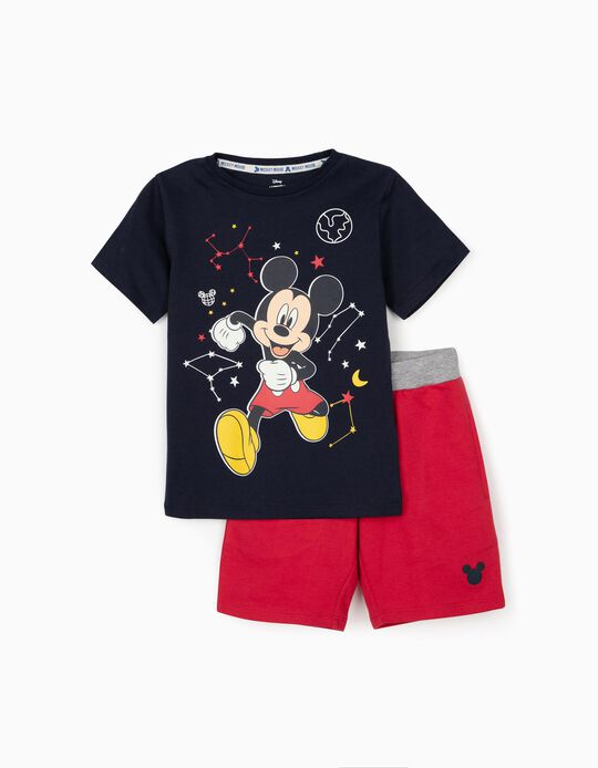 T-shirt and Shorts for Boys, 'Mickey Mouse Space', Dark Blue/Red