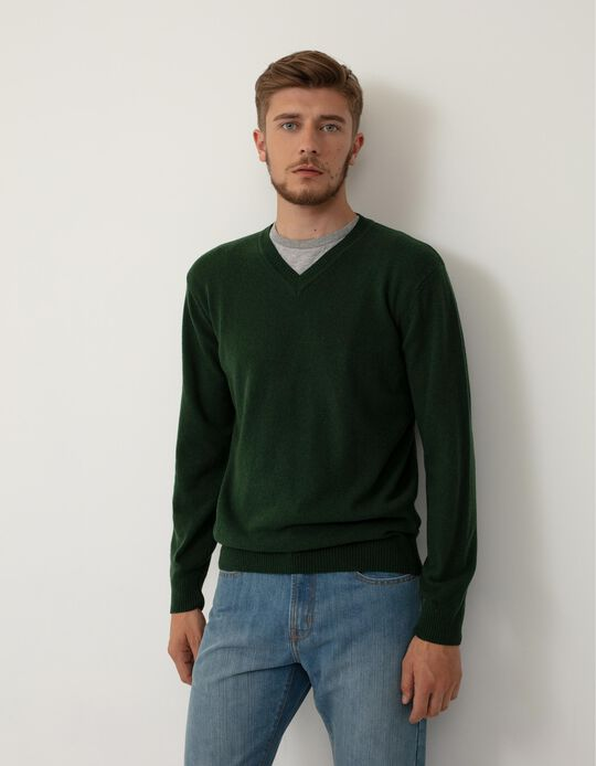 Camisola de Lã Baby Wool Decote Bico, Homem, Verde