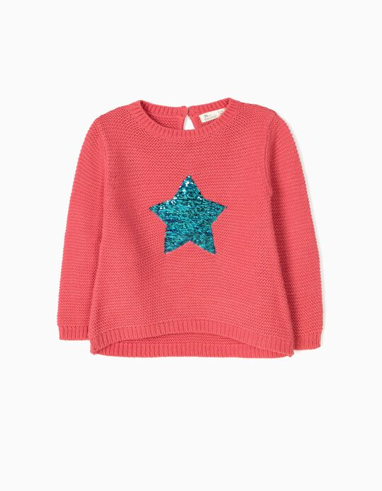 Knit Jumper for Girls 'Stars', Pink