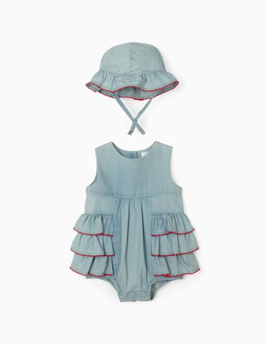 Denim Jumpsuit & Hat for Newborn Baby Girls, Blue