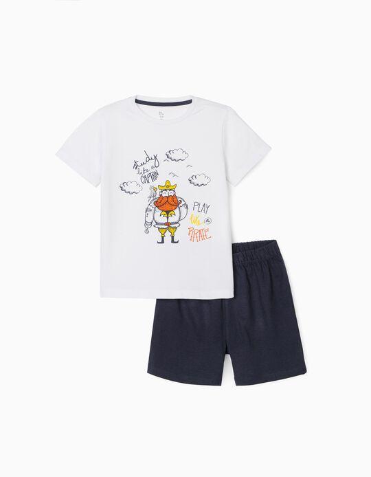 Pyjamas for Boys, 'Play Like a Pirate', White/Blue