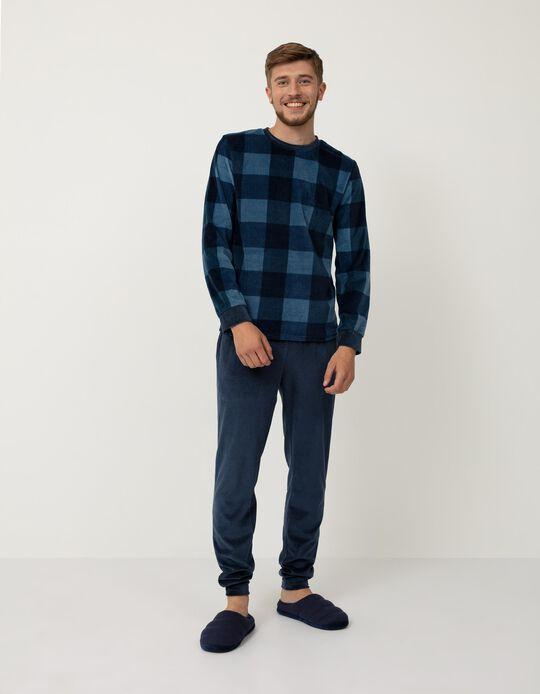 Pijama de Veludo, Homem, Azul