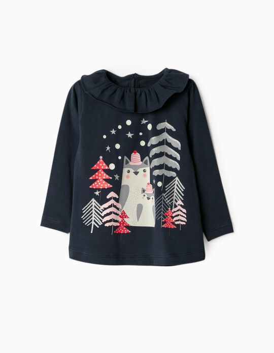 Long Sleeve Top for Baby Girls, 'Christmas', Dark Blue