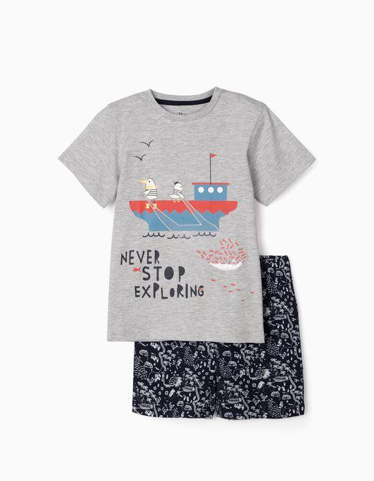 Pyjamas for Boys, 'Never Stop Exploring', Grey/Blue