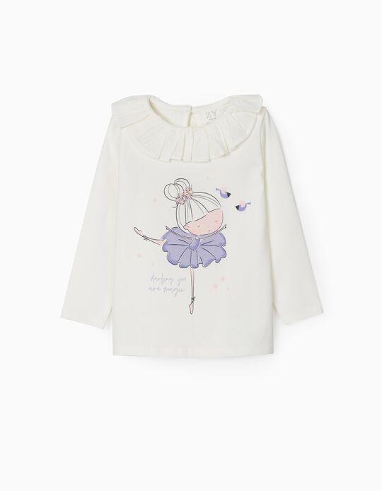 Long Sleeve Top for Baby Girls, 'Ballerina', White