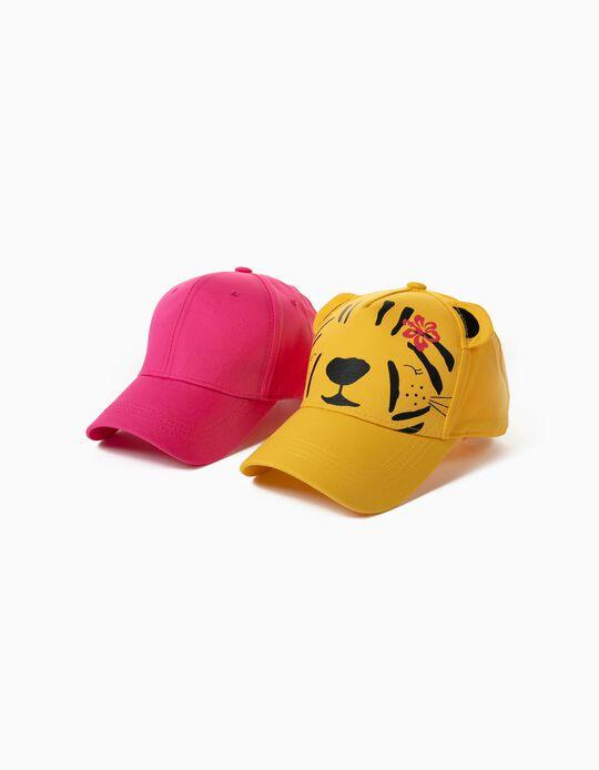 2 Caps for Children, Yellow/ Pink