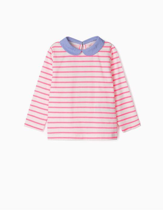 T-shirt Manga Comprida para Bebé Menina 'Stripes', Rosa/Branco