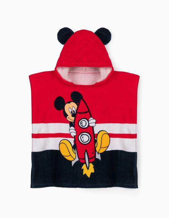 Poncho de Praia para Menino 'Mickey Space', Branco/Vermelho/Azul
