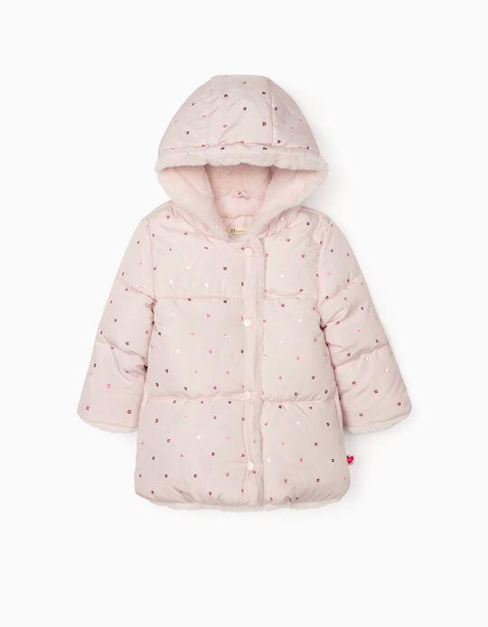 Padded Jacket for Girls'Flowers', Light Pink