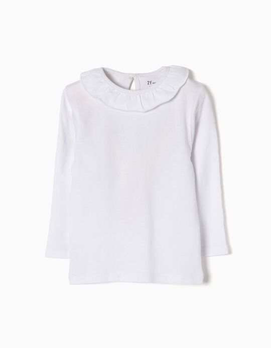 Long-sleeve T-shirt for Baby Girls with Ruffle, White