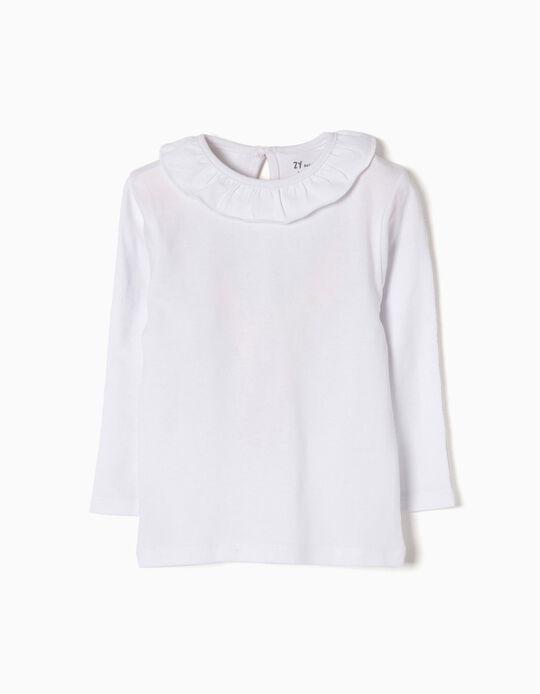 T-shirt Manga Comprida para Bebé Menina com Folho, Branco