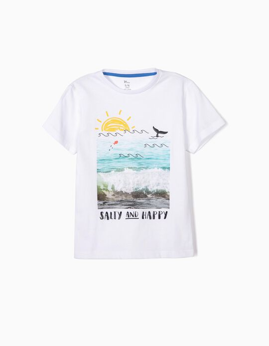 T-shirt para Menino 'Salty and Happy', Branco