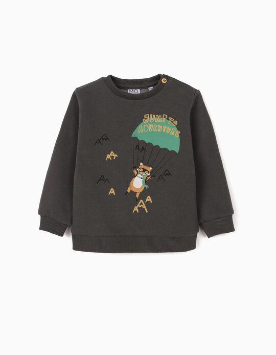 Sweatshirt with Print, Babies, Dark Grey