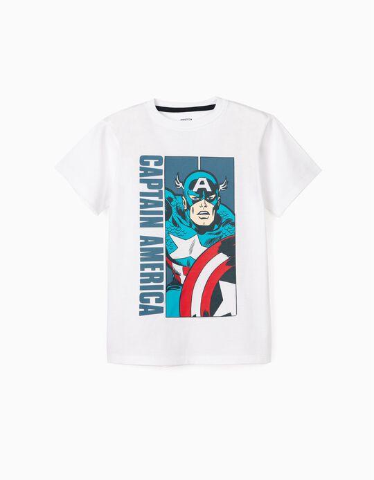 T-Shirt for Boys 'Captain America', White