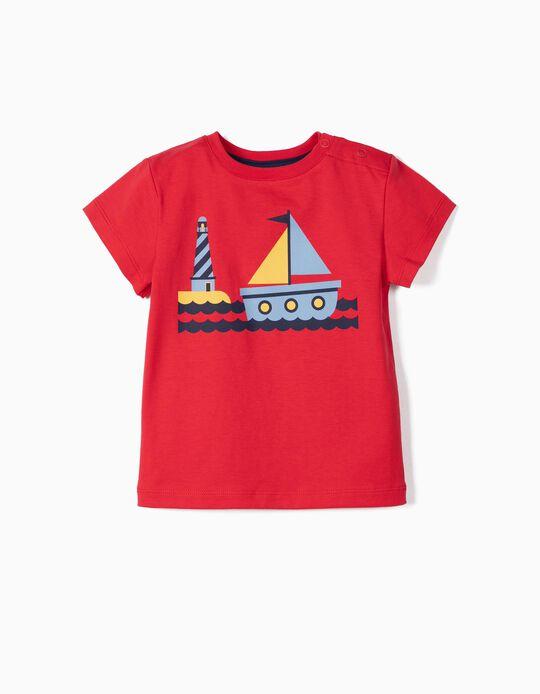 T-shirt para Bebé Menino 'Boat' Anti-UV 30, Vermelho