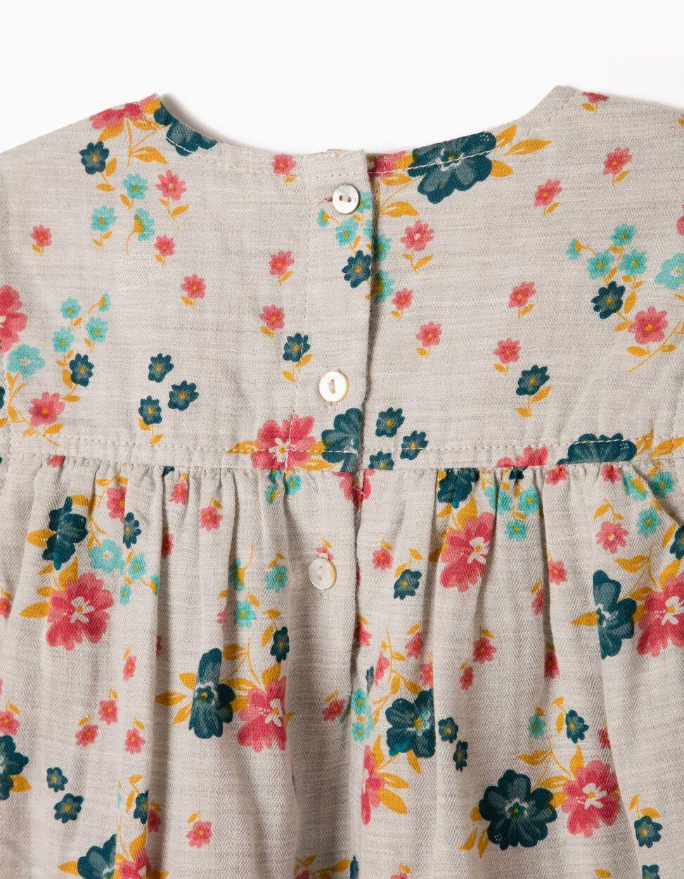 Vestido Fluido Flores e Folhos