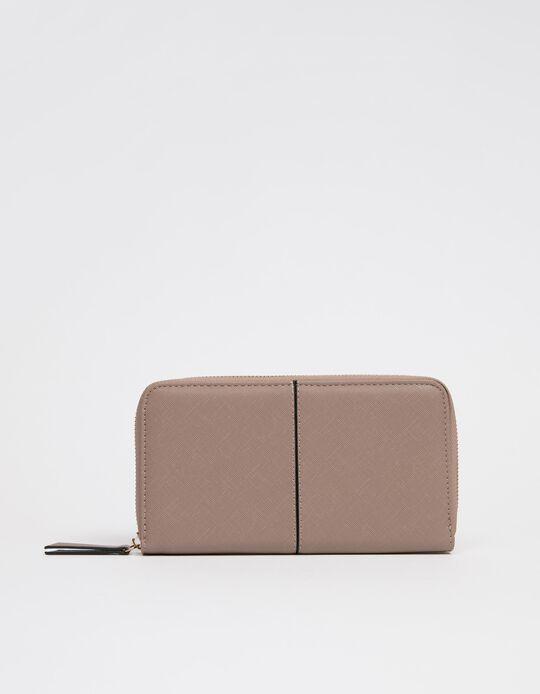 Wallet in Faux Leather for Women, Beige
