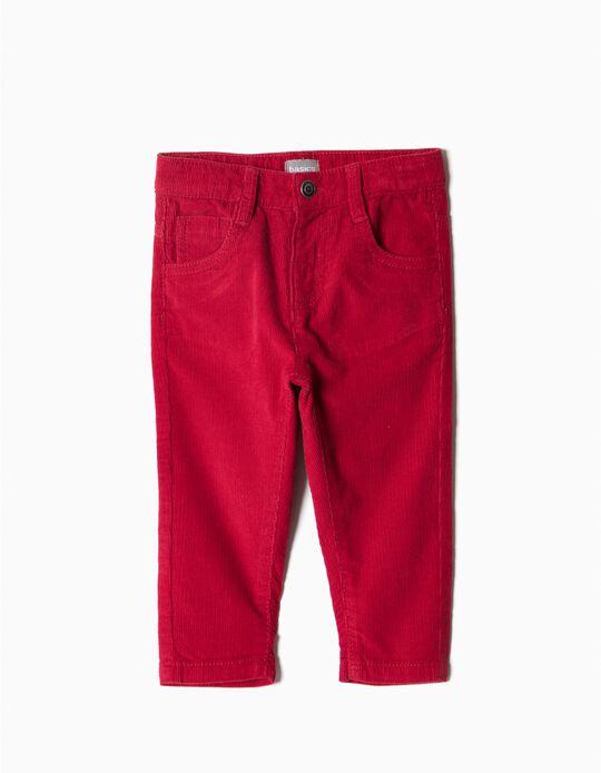 Calças bombazine 5 bolsos vermelho