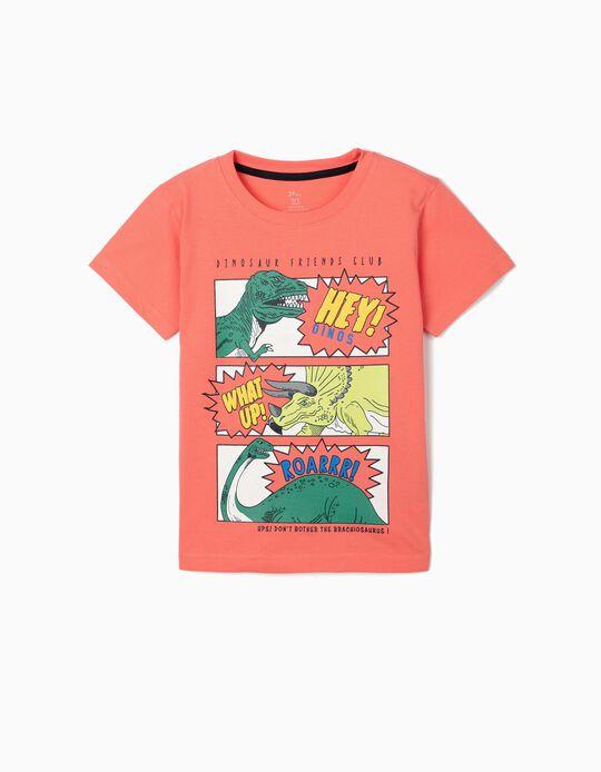 T-shirt para Menino 'Dinosaur Friends Club', Coral