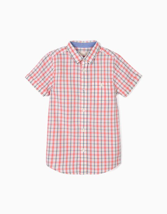Check Shirt for Baby Boys, White/Coral