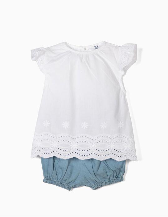 Blusa e Calções para Recém-Nascida, Branco e Azul