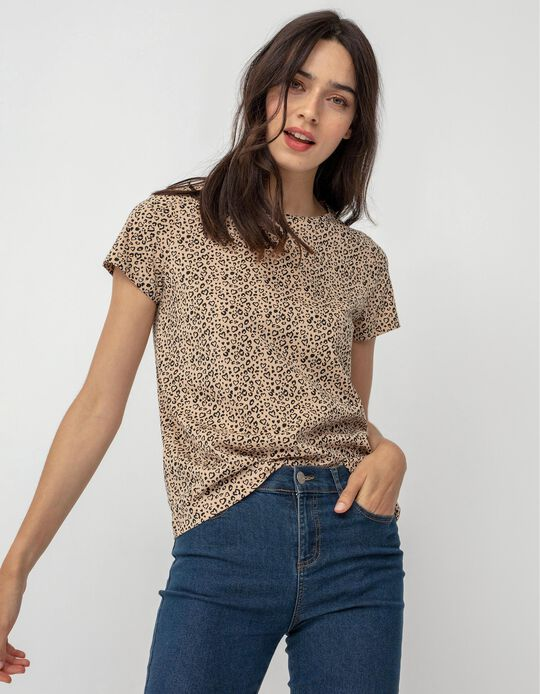T-shirt with Hearts Print, Beige